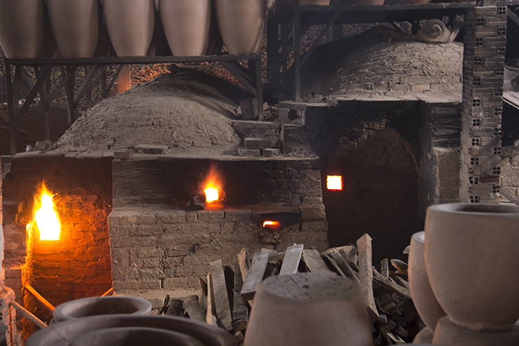 Dragon kilns during firing